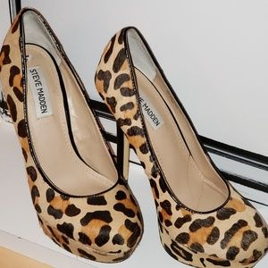 Steve Madden Cheetah Print Fur High Heel Shoes